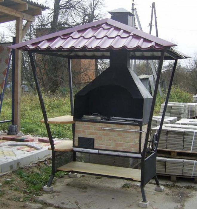 Фото мангала с крышей своими руками 25
