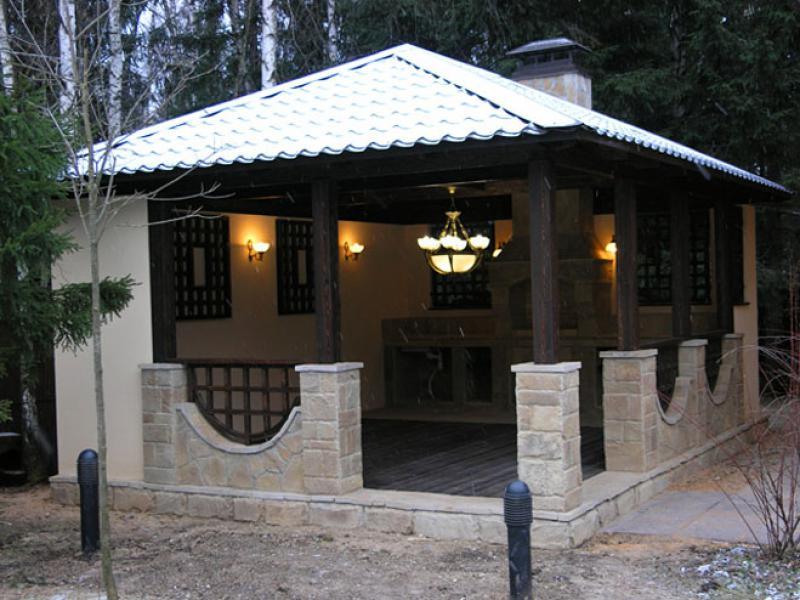 Кирпичная конструкция с печным комплексом