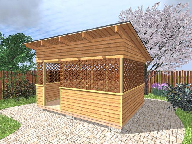 Беседка с односкатной крышей деревянная