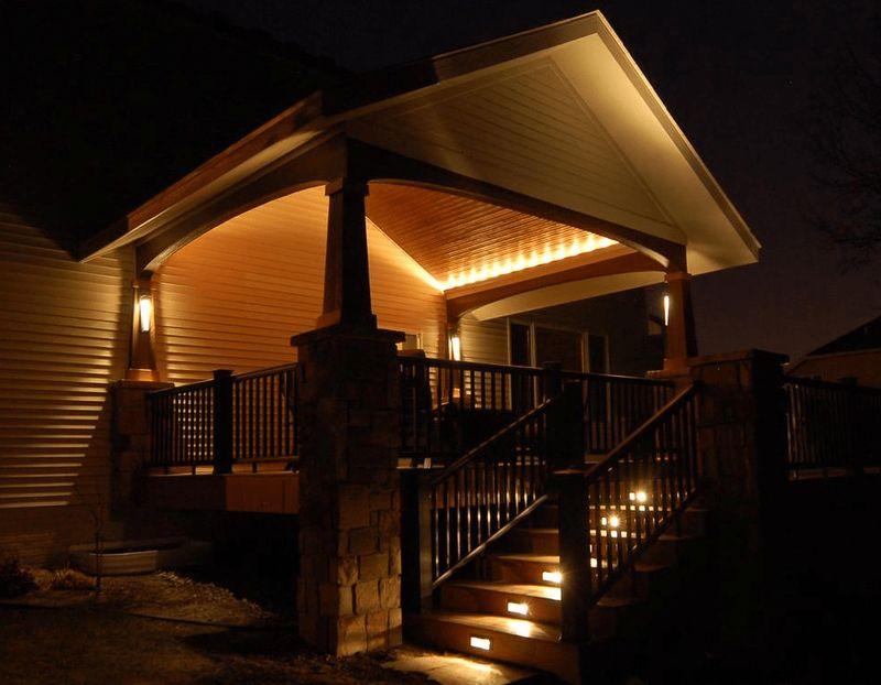 Подсветка крыши и ступенек