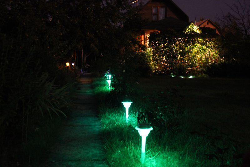 Освещенная фонариками дорожка