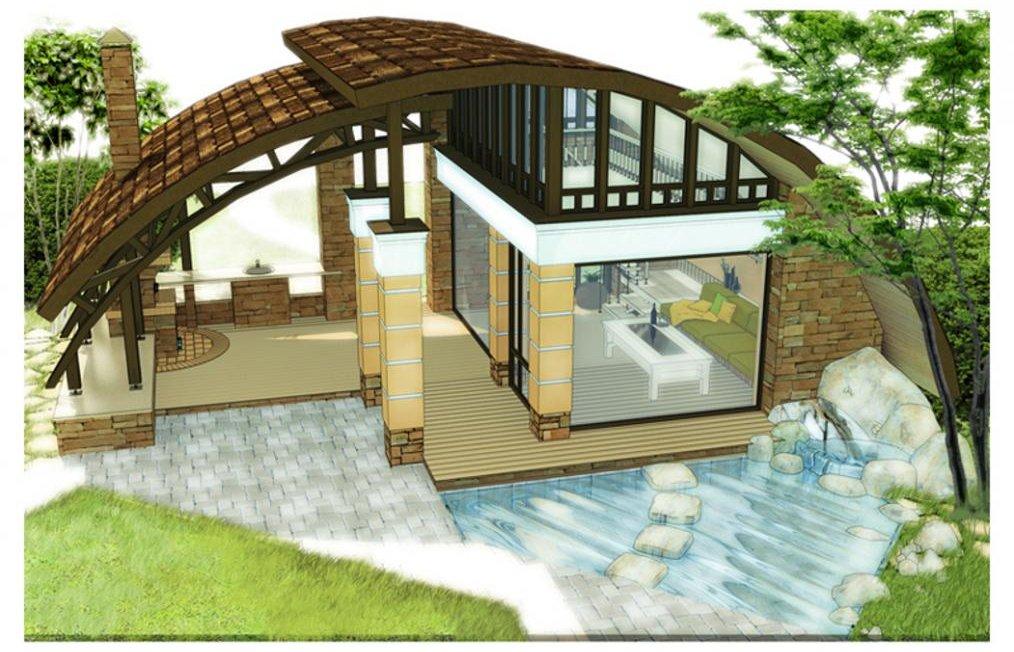 Проект с бассейном, круглой крышей и газоном