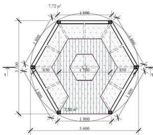 Чертеж шестигранной беседки (вид сверху)