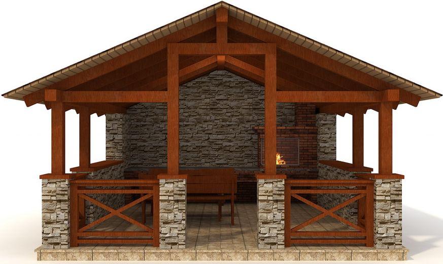 Проект деревянной беседки с камнем