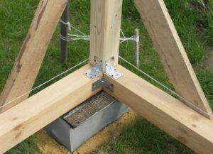Крепление столба к нижней обвязке на уголки