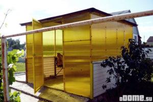 Беседка из жёлтого поликарбоната