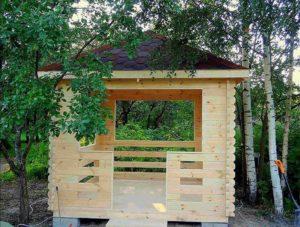 Идея деревянной беседки из доски 45 мм