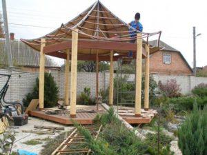 Сложный вариант возведения китайской крыши