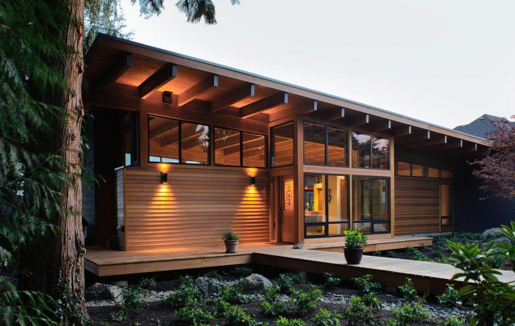 Красивая архитектурная беседка в хай-тек стиле